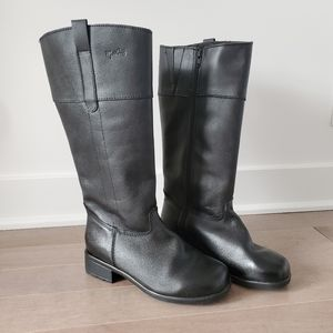 Martino black leather mid calf boots size 7B